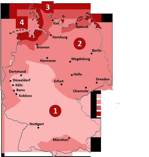 Grafik für die einzelnen Windlastzonen in Deutschland